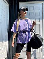 Костюм женский модный летний футболка оверсайз и велосипедки