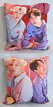 """Подушка k-pop 40х40 см із змінною наволочкою """"BTS"""" Jimin & J-Hope"""
