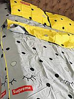 Яркое серо желтое постельное белье из бязи полуторного размера