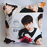 """Подушка  k-pop 40х40 см із змінною наволочкой """"BTS"""", фото 2"""