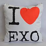 """Подушка k-pop 40х40 см із змінною наволочкой """"EXO"""", фото 2"""