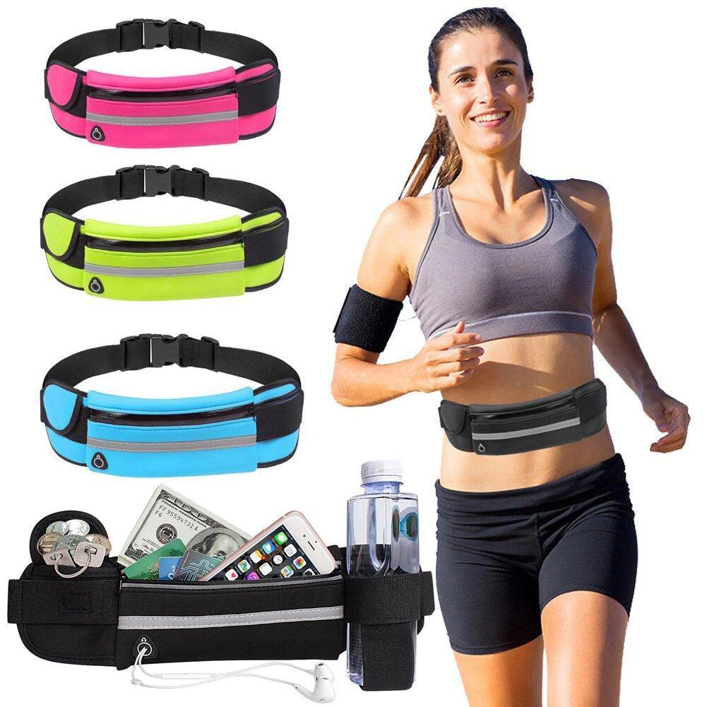 Сумка спортивная (поясная) для бега / Непромокаемая сумка для бега с карманом на бутылку.