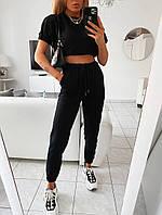 Женский стильный  летний спортивный костюм с футболкой (турецкая двухнить) Р-р 42-48