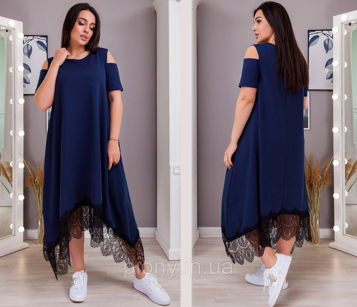 Жіноча Сукня вільного крою з мереживом Батал