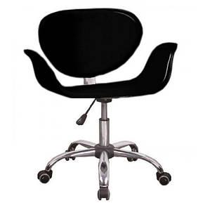 Кресло Студио К, кожзам, хром, на колесах, цвет черный