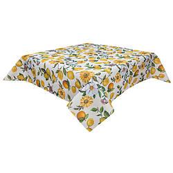 Гобеленовая скатерть на стол Лимонно цветочный микс