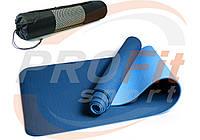 Коврик Yoga mat TPE+TC 6мм + ЧЕХОЛ двухслойный для йоги и фитнеса, йогамат, мат-каремат синий-голубой