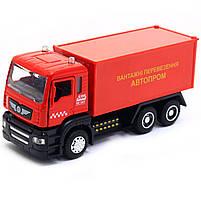 Машинка ігрова Автопром «Вантажні перевезення Автопром» Червона зі світловими і звуковими ефектами (50013), фото 3