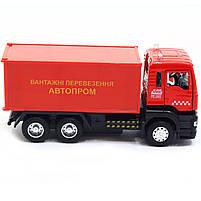 Машинка ігрова Автопром «Вантажні перевезення Автопром» Червона зі світловими і звуковими ефектами (50013), фото 4