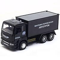 Машинка ігрова Автопром «Вантажні перевезення Автопром» Чорна зі світловими і звуковими ефектами (50013), фото 3