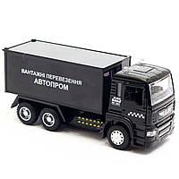 Машинка ігрова Автопром «Вантажні перевезення Автопром» Чорна зі світловими і звуковими ефектами (50013), фото 4
