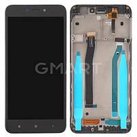 Дисплей Xiaomi Redmi 4X черный (LCD экран, тачскрин, рамка, стекло в сборе)