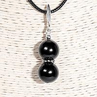 Кулон с турмалином черным шерл, серебро, Ø12 мм., 1341КЛШ