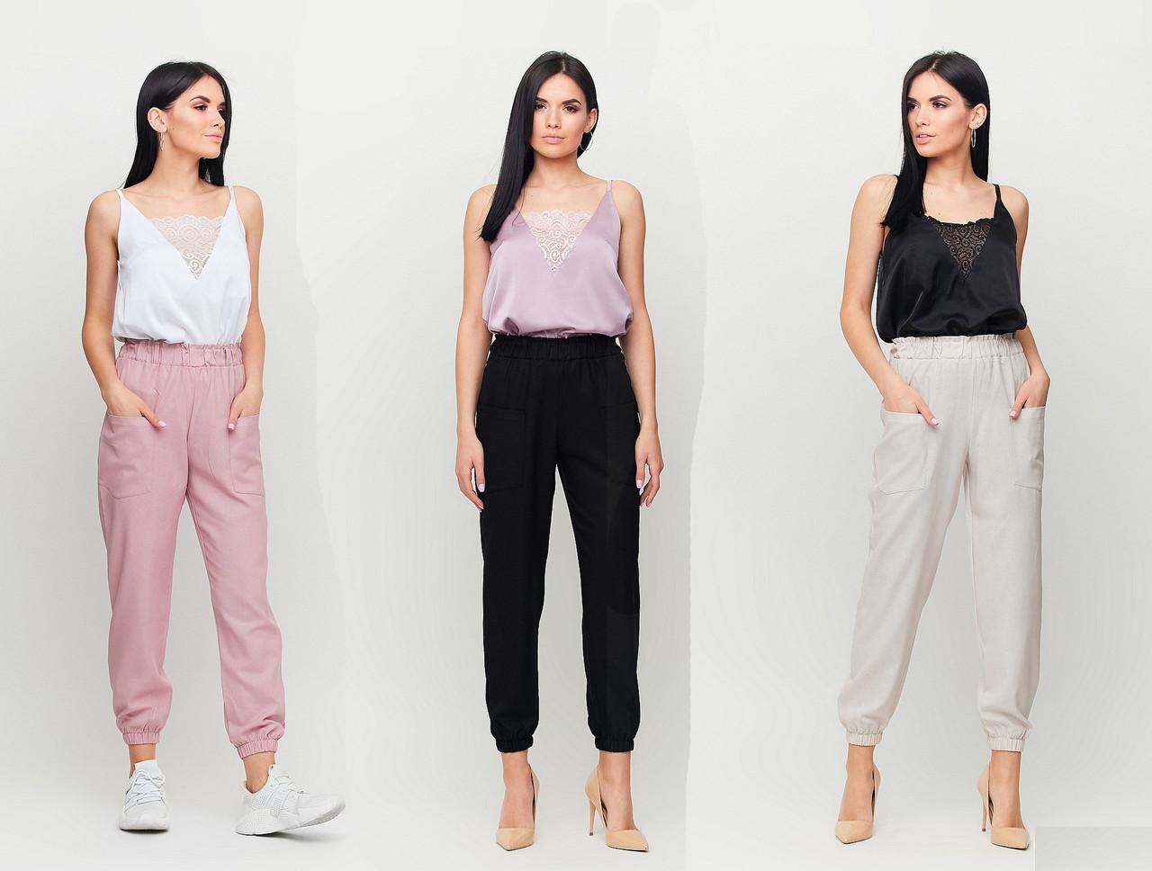 Укороченные брюки с высокой посадкой /разные цвета, S, M, L, KR-Тимми/