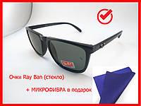 Солнцезащитные очки Ray Ban Wayfarer (стекло) очки от солнца, черные, глянцевые