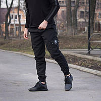 Черные штаны с карманами cargo rextim, фото 1