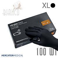 Перчатки нитриловые медицинские Mercator Nitrylex (100шт), Black/чёрный. Размер: XL