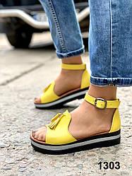 Босоножки женские кожаные желтые с кисточками