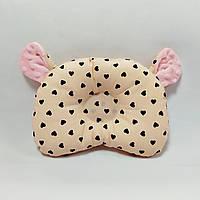 Ортопедическая подушка для новорожденного masterwork teddy bear аэропух 21*27 см. персик