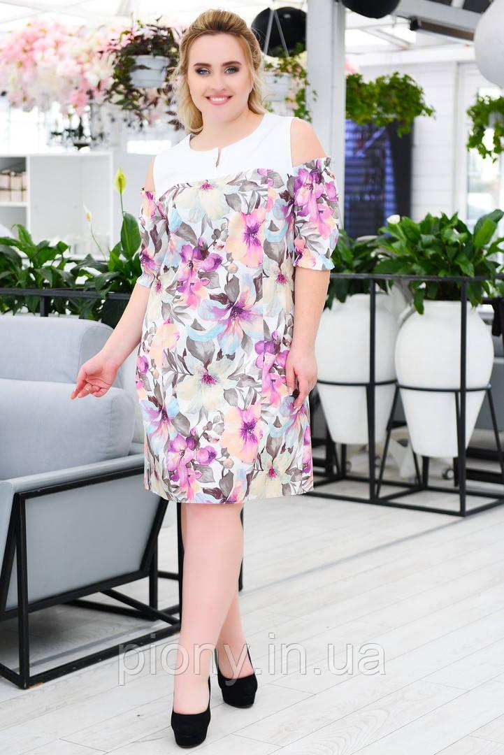 Жіноче літнє плаття принт Батал