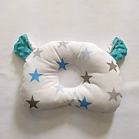Ортопедическая подушка для новорожденного masterwork teddy bear аэропух 21*27 см. белая с голубыми звёздами