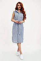 Платье-рубашка из льна в полоску без рукавов (белый с синим, р.XS-S)