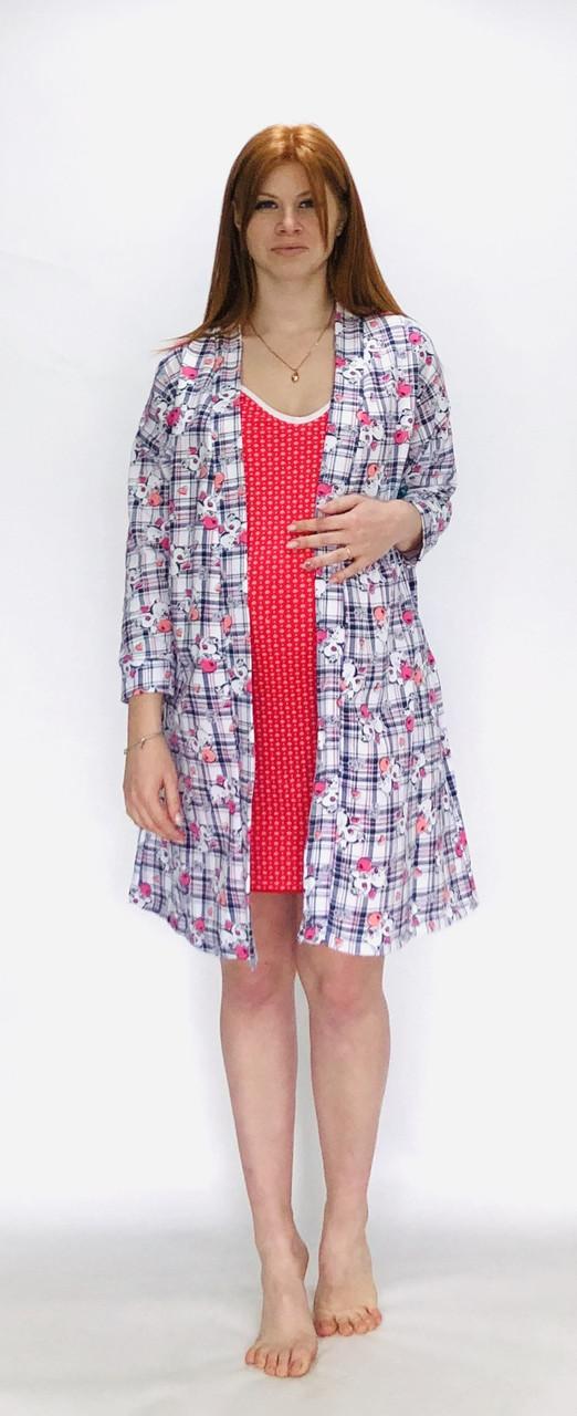 Комплект трикотажный халат и ночная рубашка для беременных и кормящих мам