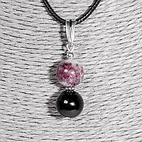 Кулон с турмалином розовым рубеллит и черным шерл, серебро, Ø10 мм., 1344КЛТ
