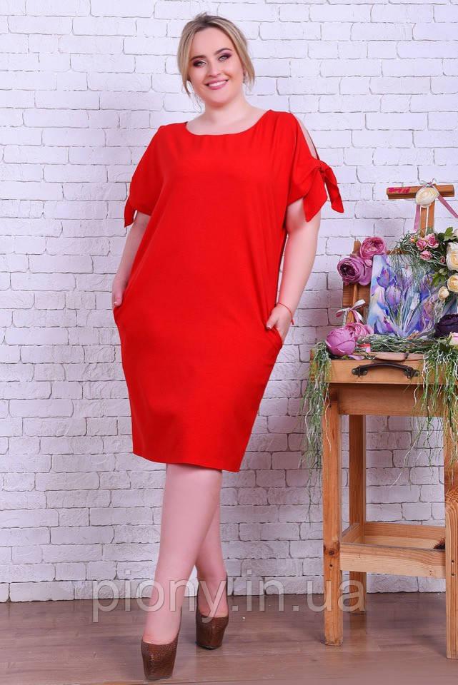 Женское Стильное Платье Лён Батал
