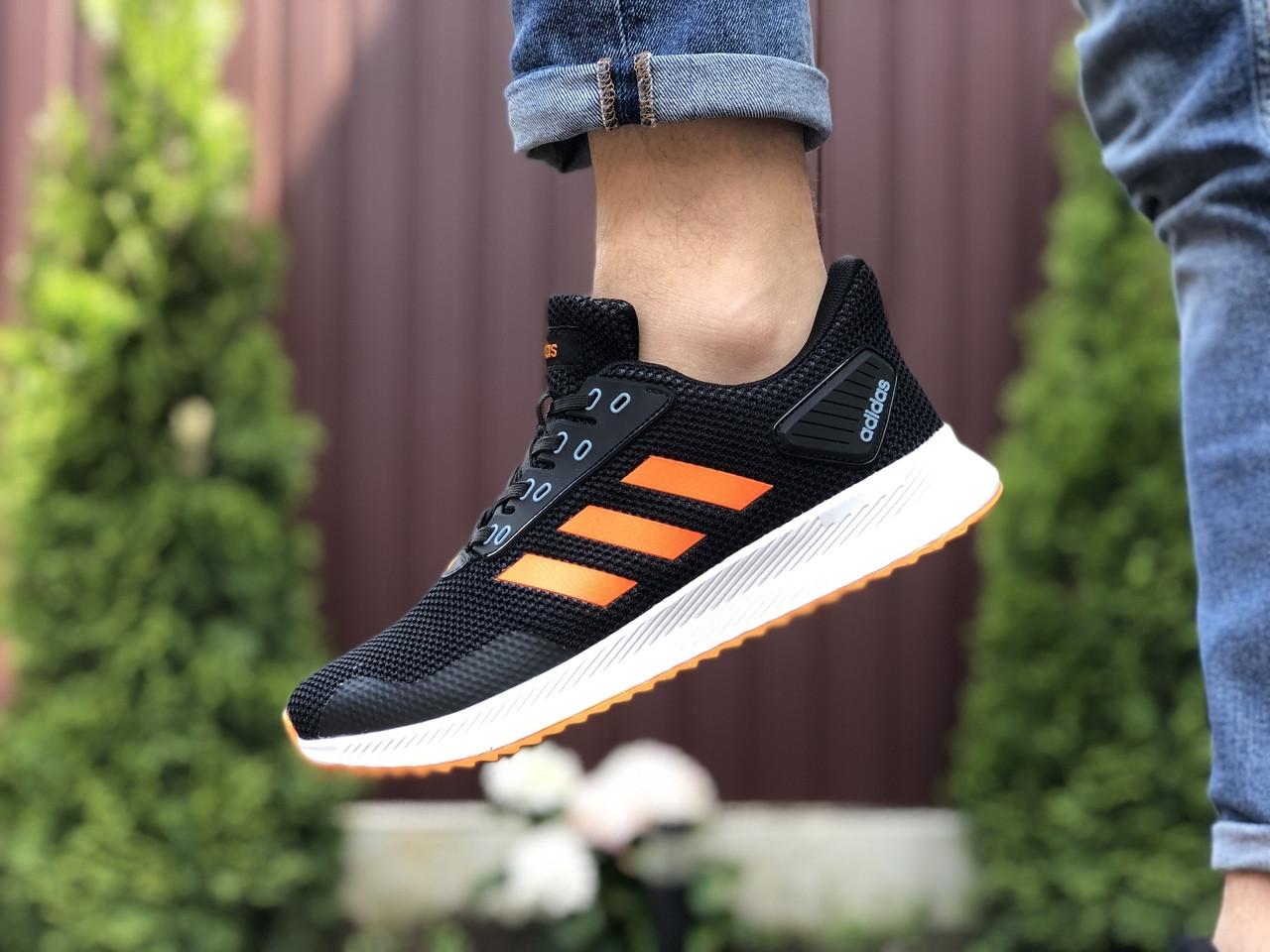 Мужские кроссовки Adidas (черно-оранжевые) 9411