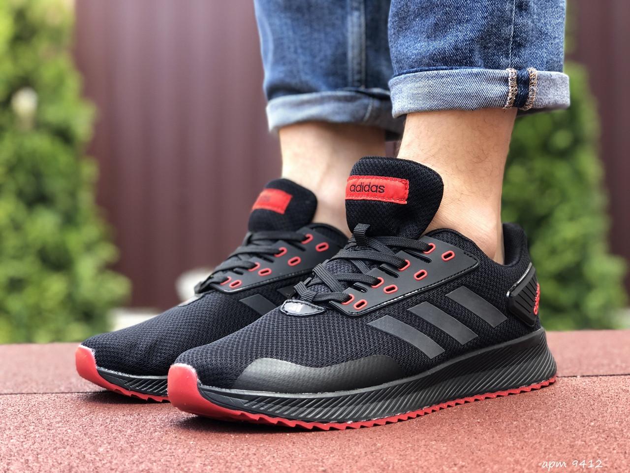 Мужские кроссовки Adidas (черно-красные) 9412