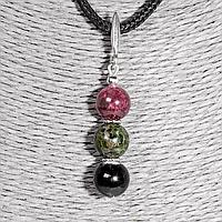 Кулон с турмалином розовым рубеллит, черным шерл и зеленым верделит, серебро, Ø10 мм., 1345КЛТ