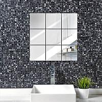 Декоративные зеркальные наклейки на стены «Квадрат». Интерьерные  акриловые декор-наклейки,  ХРОМ.