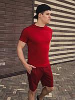 Футболка мужская летняя модная стильная бордовая с полосками кантами