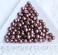 Намистини перлинні 4 мм, скло, 20 шт фіолетово-коричневі