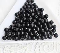 Намистини перлинні 4 мм, скло, 20 шт чорні матові