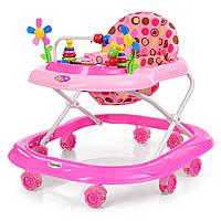 Ходунки БЕСШУМНЫЕ, СИЛИКОНОВЫЕ КОЛЕСА! детские Bambi M 3619 Розовый