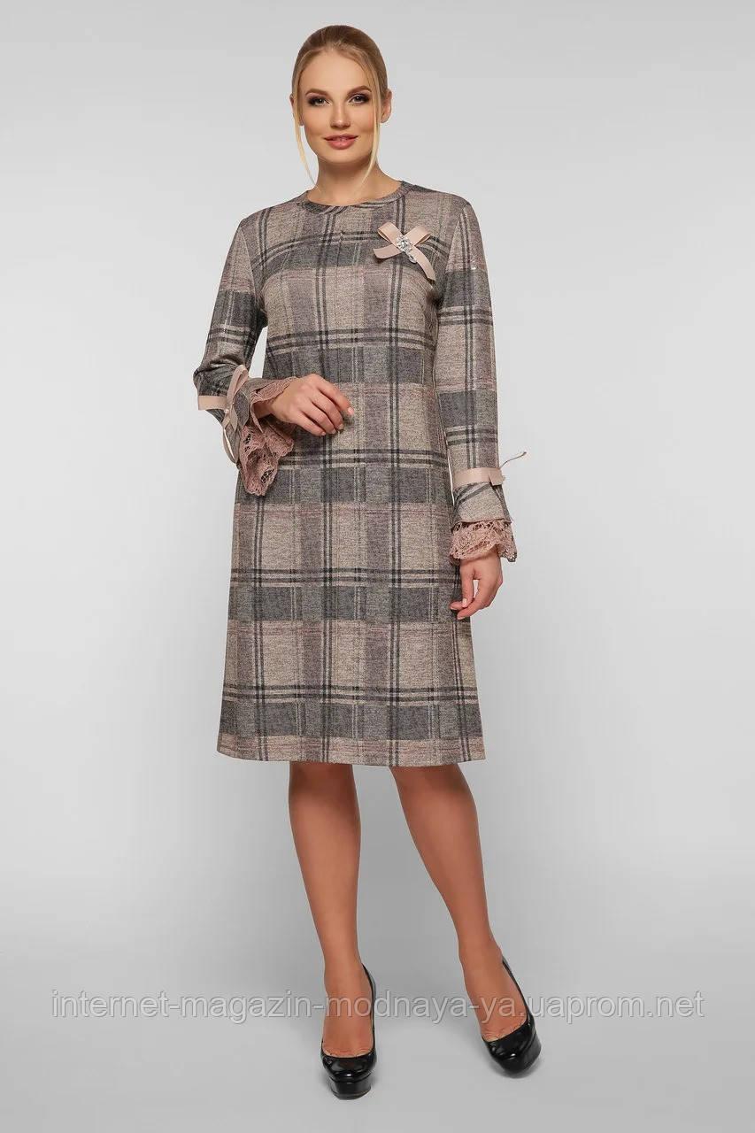 Женское нарядное платье с брошью Майя р. 50-58