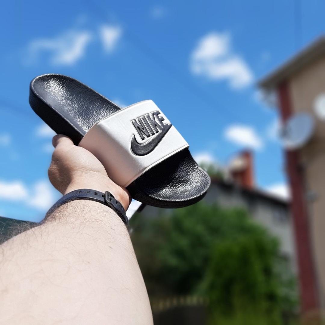 Чоловічі літні шльопанці Nike (чорно-білі) 40009