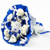 Необычный Букет из мягких  игрушек Мишки 5 штук синий Композиции из мягких игрушек