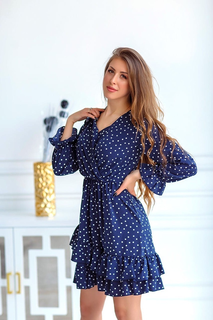 Легкое летнее платье в горошек Норма РФЕ 1123