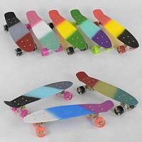 Скейтборд Penny Best Board, СВЕТ, доска=56см, полосатая дека. Скейт пенни