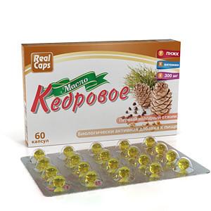 Масло кедровое 60 капсул по 300 мг Real Caps