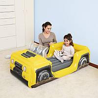 Детская надувная односпальная велюр-кровать Bestway Джип 67714, размер 160*84*58