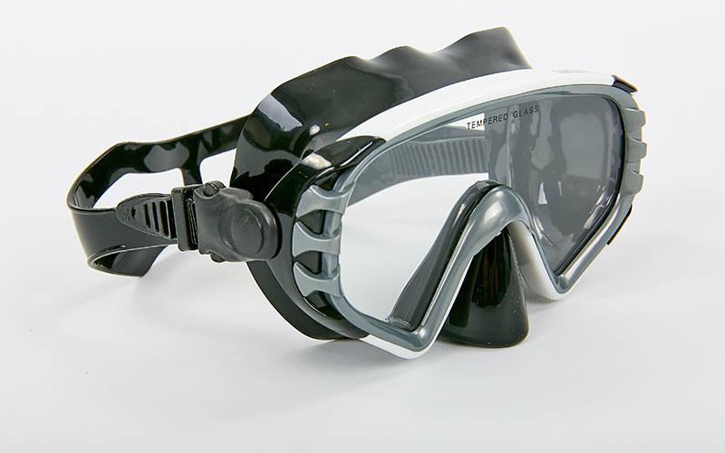 Купить Маска для плавания в пластиковом боксе Legend M163-PVC (термостекло, PVC черный, пластик, серый-черный, синий-черный) Серый-черный