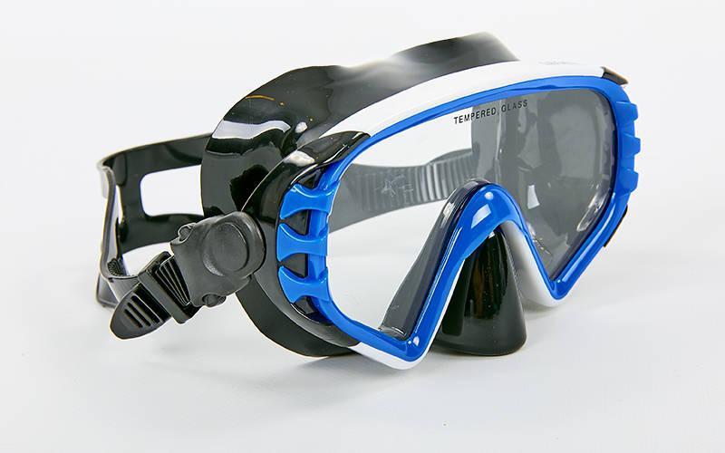 Купить Маска для плавания в пластиковом боксе Legend M163-PVC (термостекло, PVC черный, пластик, серый-черный, синий-черный) Синий-черный