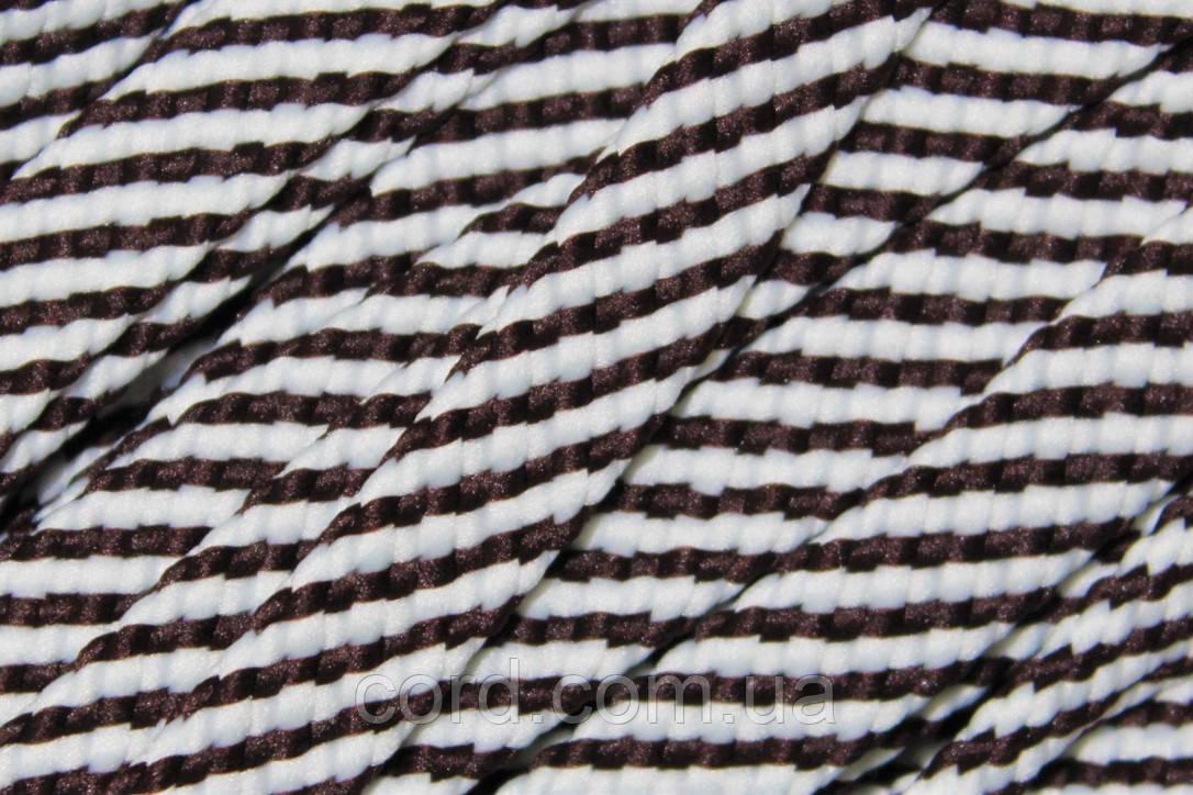 Шнур плоский чехол 15мм (100м) темно коричневый+белый