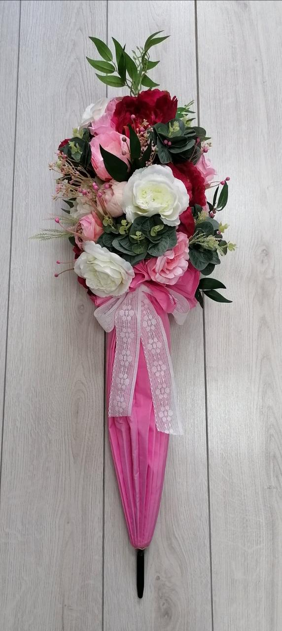 Цветочная композиция Волинські візерунки в розовом зонте
