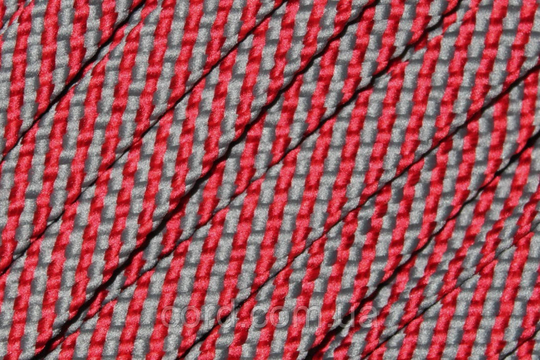Шнур плоский чехол 15мм (100м) красный+темно серый