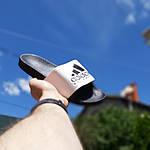 Мужские летние шлепанцы Adidas (черно-белые) 40012, фото 2